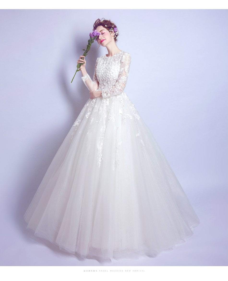 Wedding Dress White Luxury Lace Flower Princess Bride Long-sleeved A-line Floor-length Wedding Gown-Dress-SheSimplyShops