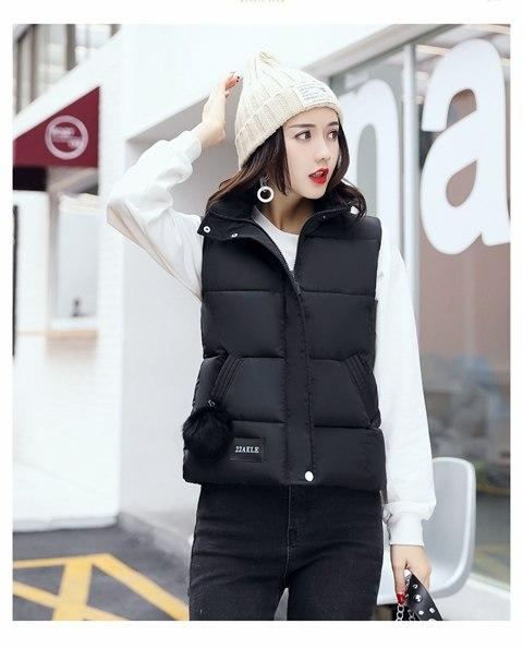 Winter Women Vest Waistcoat Female Silm Short Cotton Down Vest Plus Size Soild Color Sleeveless Jacket feminino XXXL