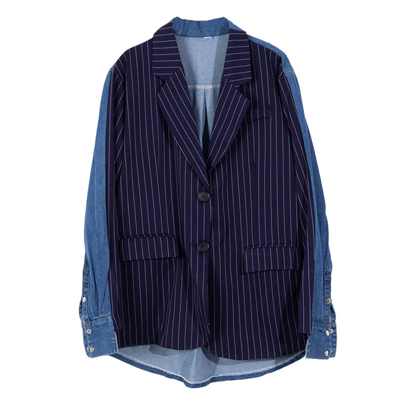 EAM Spring Striped Denim Patchwork Turn-down Collar Single Breasted Loose Coat Women Tide LC008
