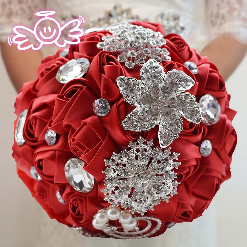 Bouquet Luxury Satin Rose Flowers with Crystal Wedding Bouquets Pearl Bridesmaid Wedding Accessories-Tops-SheSimplyShops