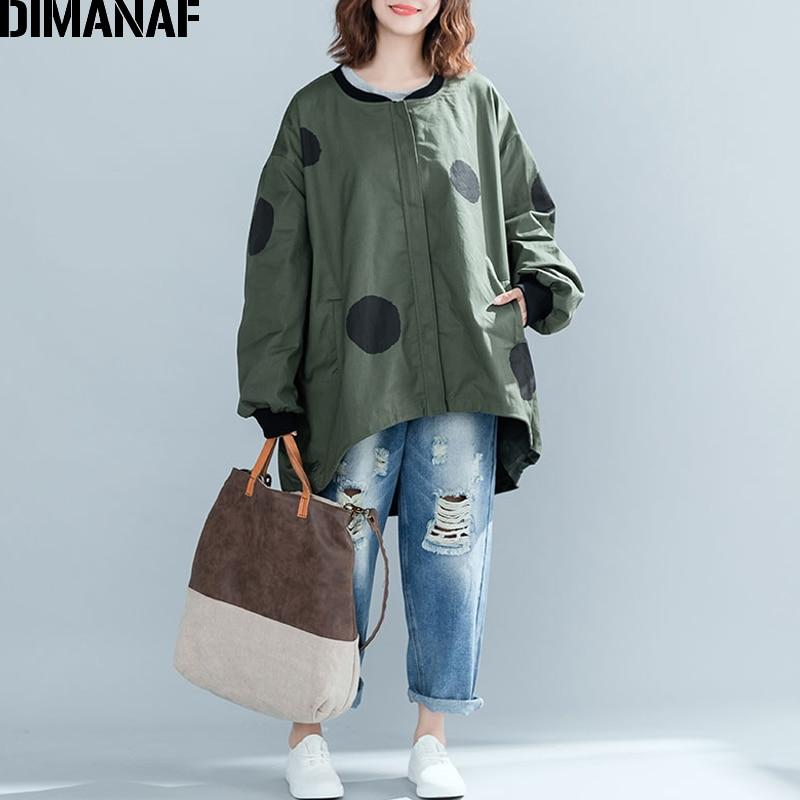 DIMANAF Women Jacket Coat Big Sizes Cardigan Zipper Female Clothes Loose Oversized Autumn Winter Outerwear Print Polka Dot 2018