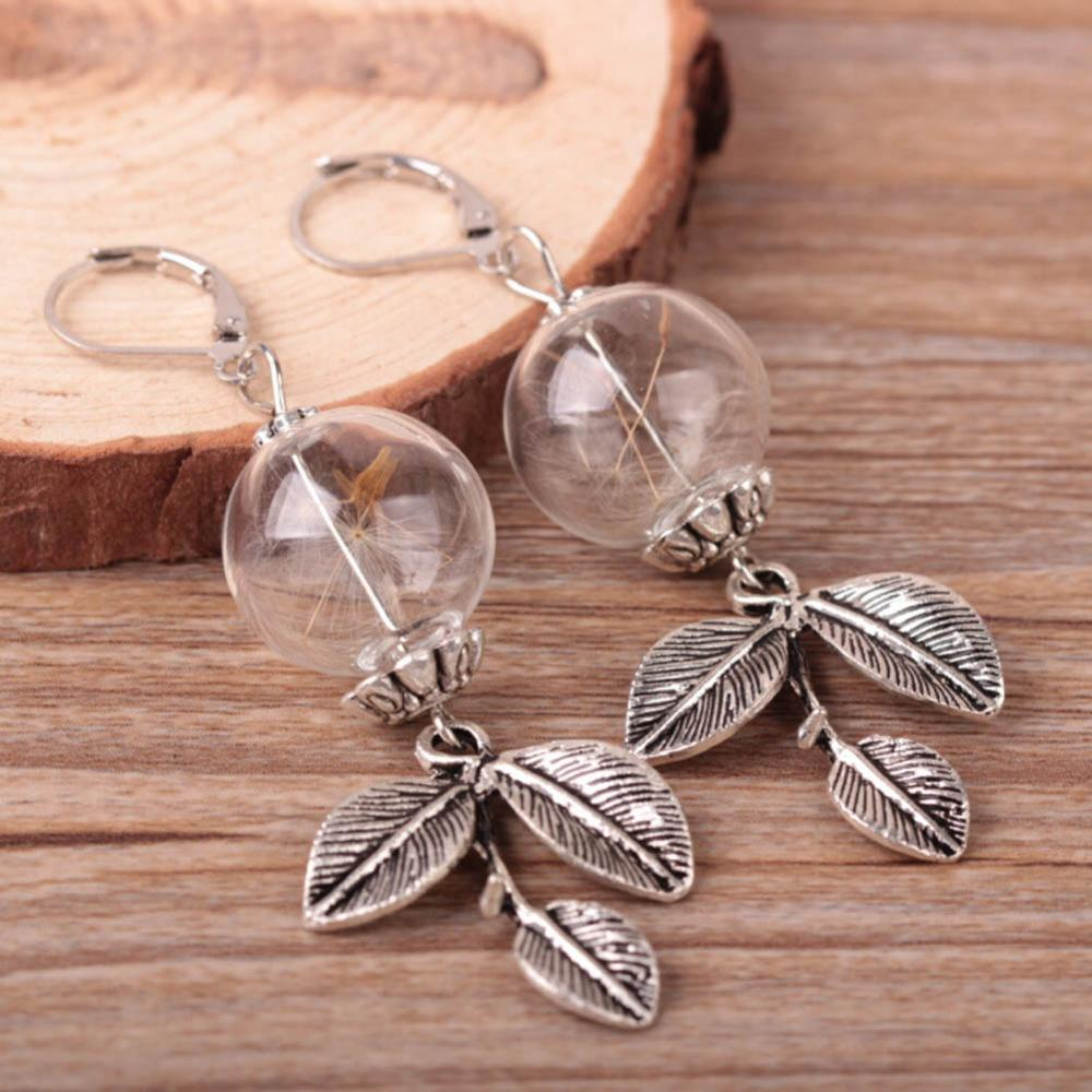 accessories glass crystal beads earrings for women Dandelion in the glass globe Terrarium earring-EARRINGS-SheSimplyShops