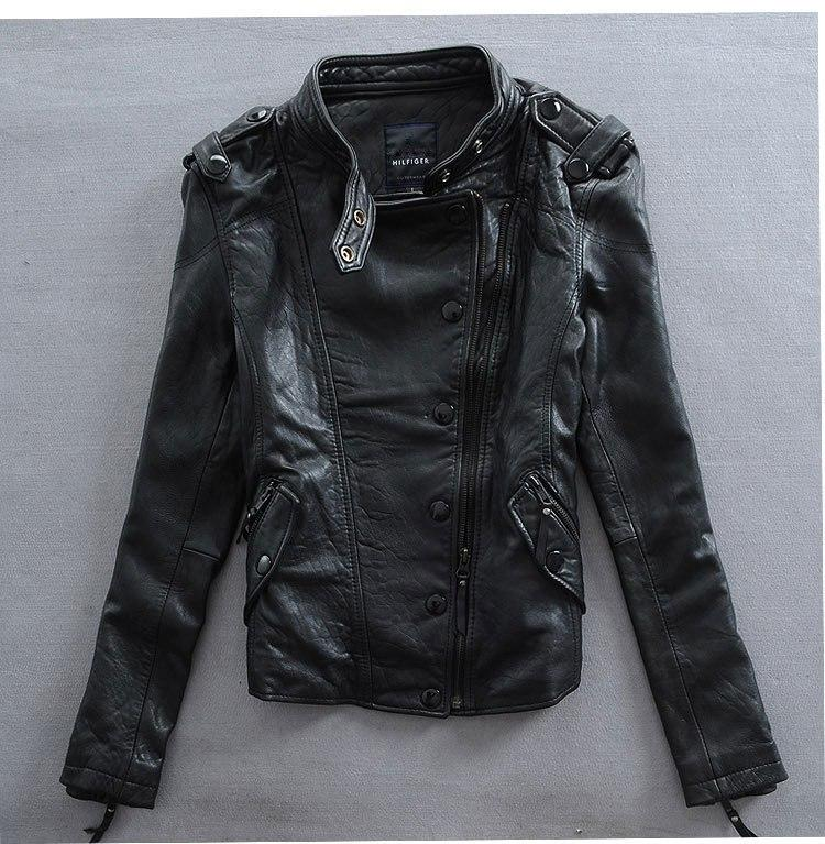 Factory Women Slim Cool Punk High Quality Genuine Leather Imported 100% Goat Skin Jackets Korea Outwear