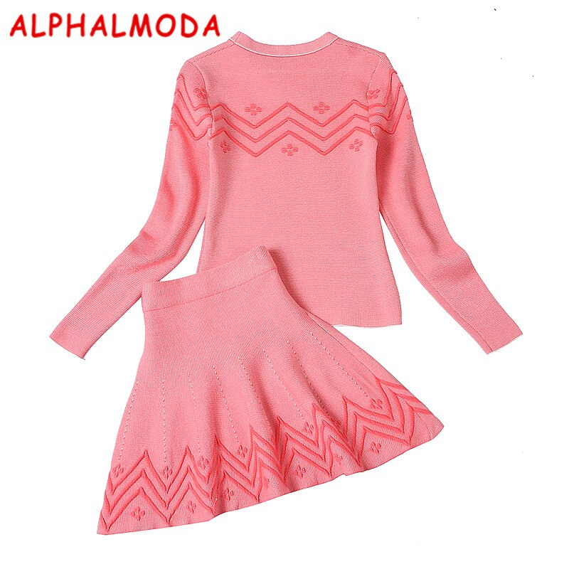 [ALPHALMODA] Autumn Winter Women's New Knitting Clothing Sets 3D Embroidered Geometric Pattern Pullover Sweater + A-line Skirts