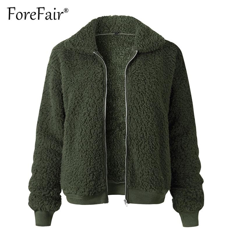 Forefair Teddy Coat Women Clothes 2018 Autumn Winter Thick Warm Jacket Outerwear Female Casual Streetwear Plush Faux Fur Coats