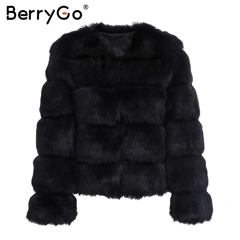 BerryGo Fluffy faux fur coat women Short furry fake fur winter outerwear pink coat autumn casual party overcoat female