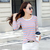 Fashion T Shirt Female Long sleeve Stripped Summer Women Clothes 2019 Women's Clothing Casual T-Shirts Top Cotton Tee Plus Size