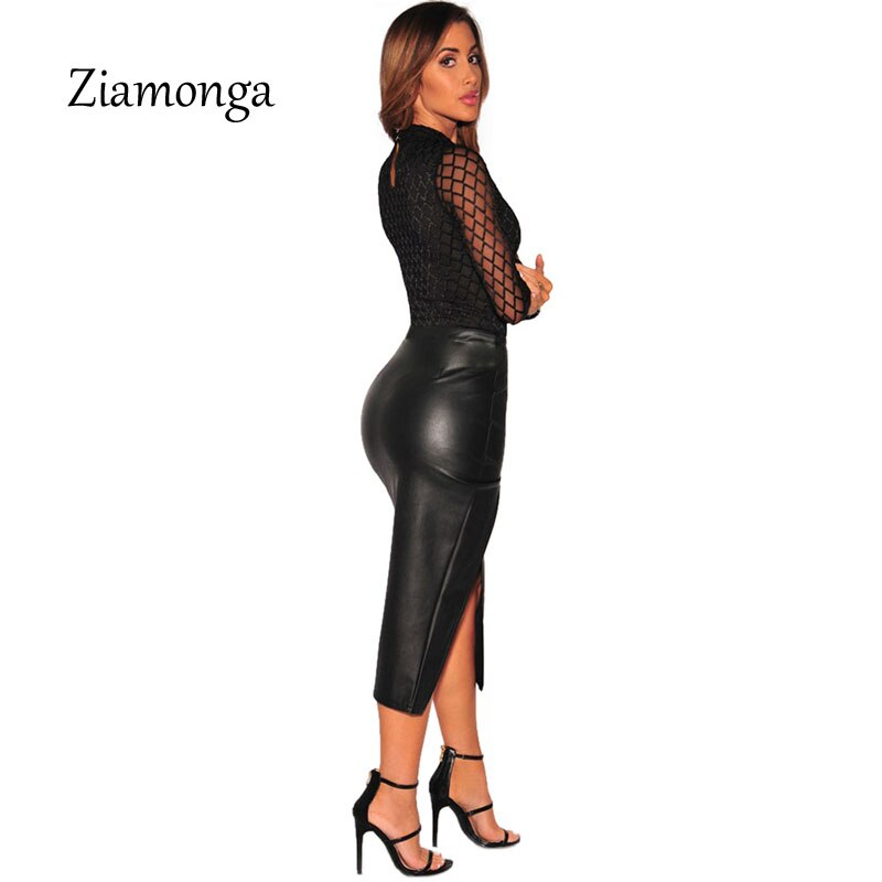 Ziamonga 2019 Brand Sexy Bodysuit Jumpsuit Romper Women Black White Hollow Long Sleeve Mesh Bodycon Jumpsuits Stretch Body Femme