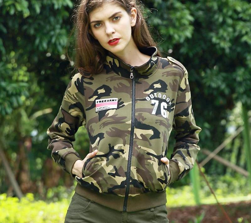 Autumn Ladies Zip-up Hoodies Women Casual Short Jackets Coat Outerwear Camouflage Embroidered Patch Hoodies Sweatshirts-Coats & Jackets-SheSimplyShops