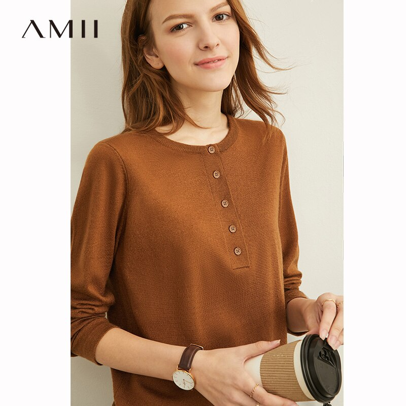Amii Autumn Elegant Three Piece Set Female Casual Solid Knit Sweater Loose Coat and Trousers 11920160
