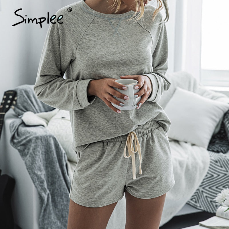 Simplee summer casual 2 pieces suits women playsuits solid casual ladies jumpsuit rompers loose plus size playsuits rompers