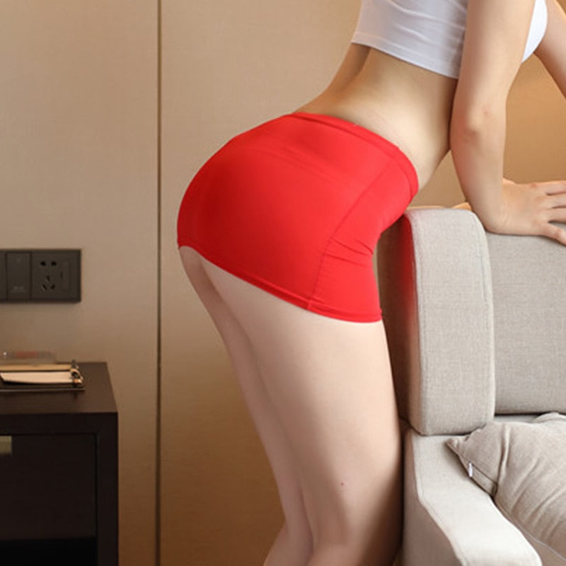 Women Night Club Pencil Skirts See Through Temptation Cute Short Mini Micro Open Crotch Sex Shorts Tight Package Hip Skirt