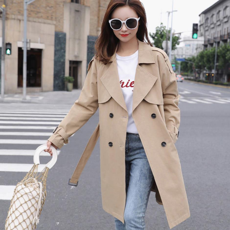 Women Trench spring Casual Trench Coat with sashes oversize double breasted Vintage Cloak Overcoats Windbreaker