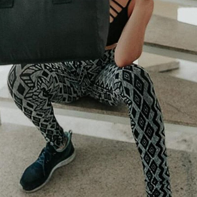 New Style Workout Sporting Women Push Up Pattern Printing Skinny Leggings Summer Autumn Style Casual High Waist Leggings