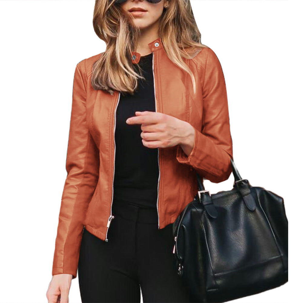 Women Autumn Winter Solid Color Stand Collar Faux Leather Zipper Sliming Coat Jacket coat Women Coats Long Sleeve Basic Jackets