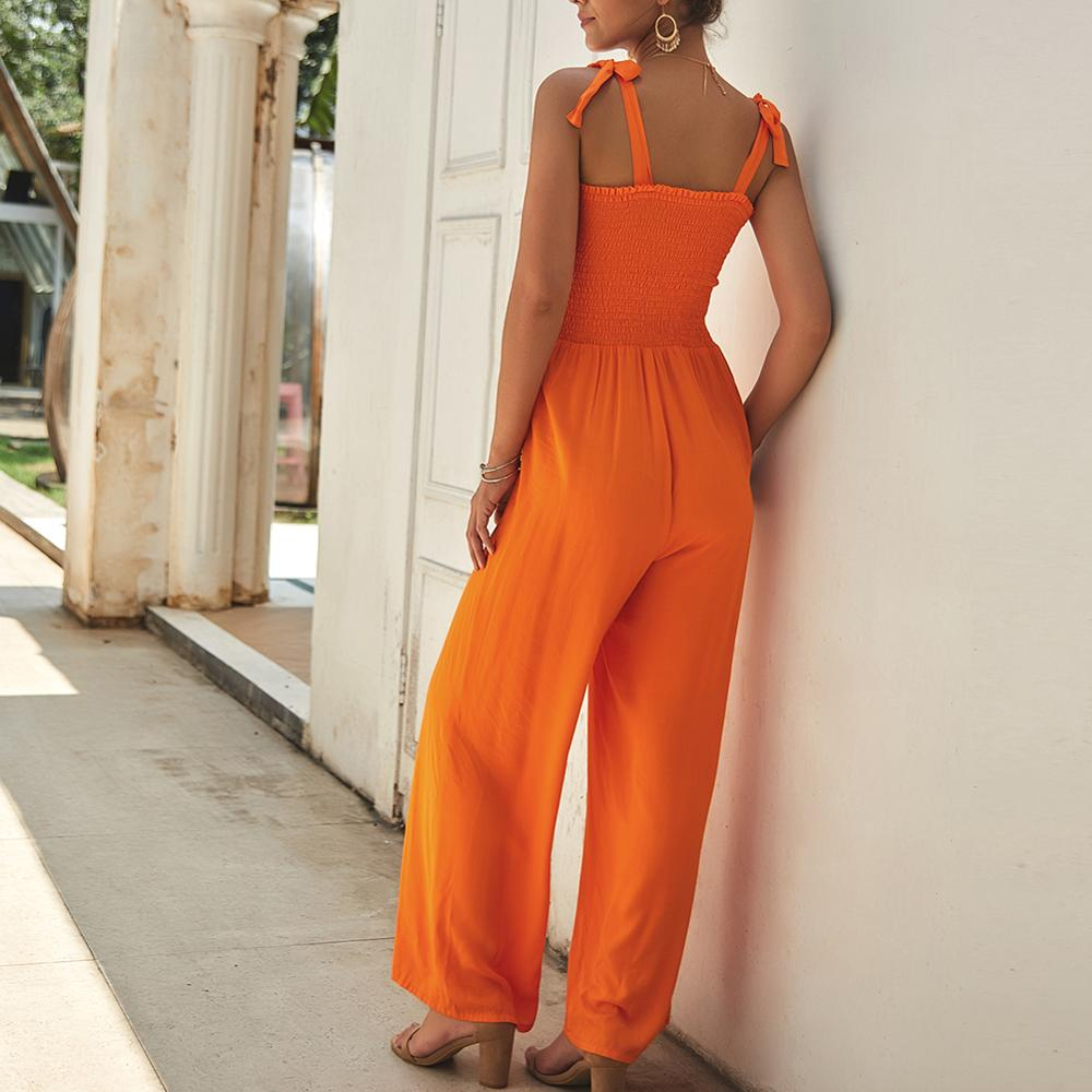 Fashionable Women's Summer Sling Solid Color Straight Pants  Cotton Thin Loose Jumpsuits Bohemian Temperament Commuter Clothing
