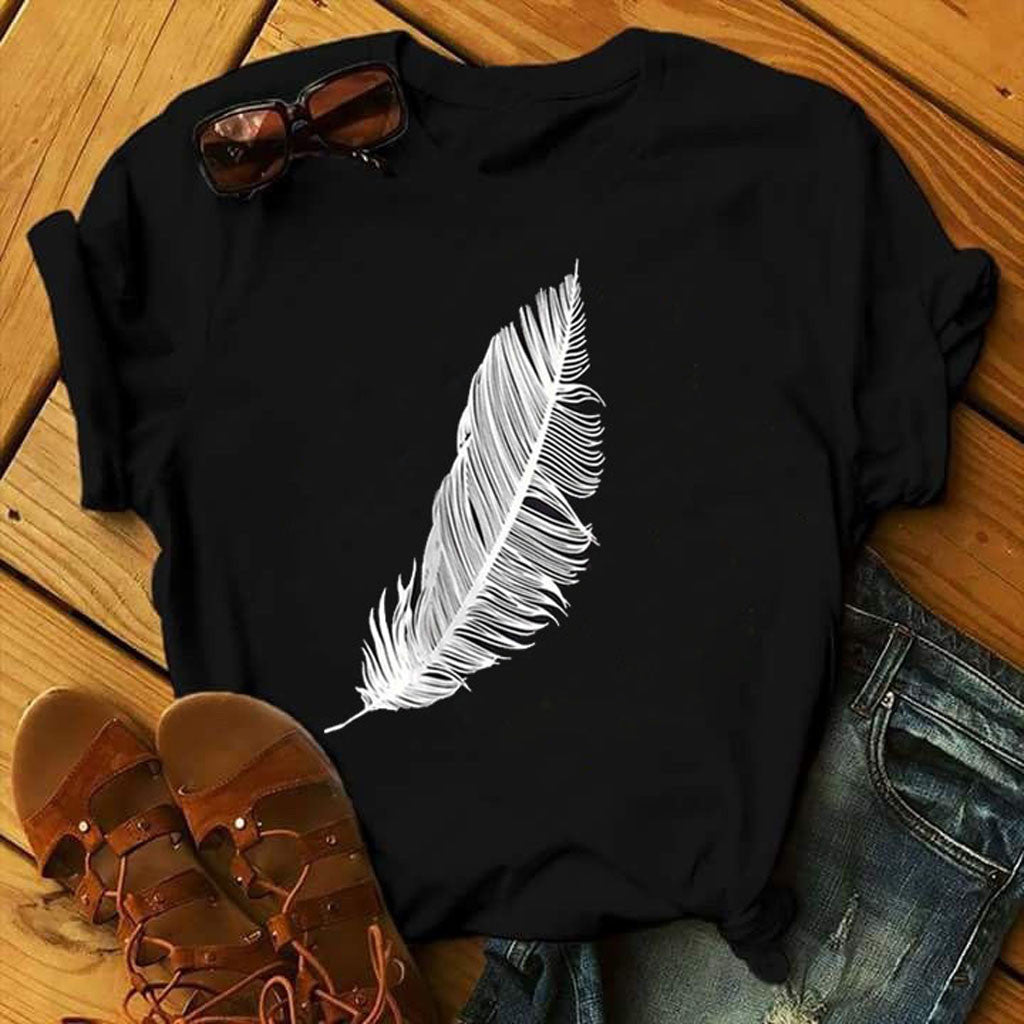 women casual fashion t-shirt khaki feather sun moon print loose o-neck short sleeve elastic stretched summer home new Tee Shirt