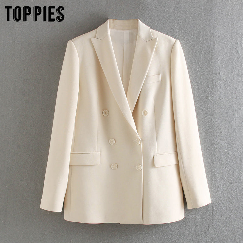 Toppies white blazer for women summer blazer double breasted jackets ladies formal suit jackets