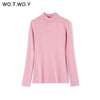 WOTWOY Autumn Winter Solid Cashmere Sweater Women Knitted Long Sleeve Turtleneck Sweaters Women Slim Fit Basic Pullovers