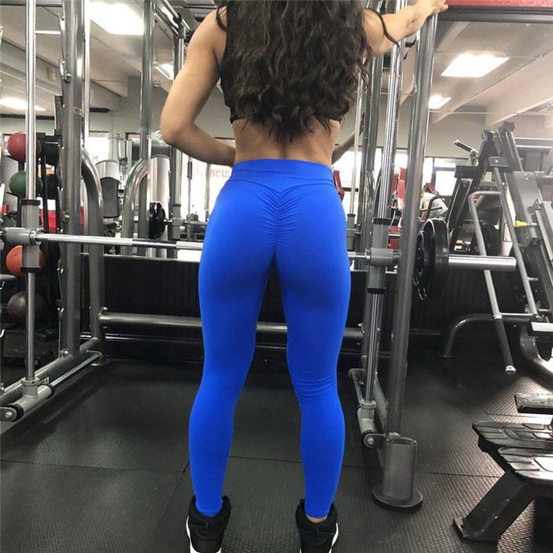Women's Leggings Stretchy High Waist Back Ruched Legging Butt Lift Pants Hip Push up Workout Stretch Capris Deporte Mujer #