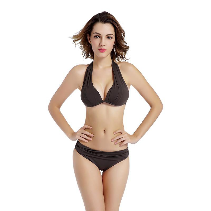 Halter Neck Bikinis Set Women Swimwear Push Up Swimsuits Solid Bathing Suit Female Bikini-SheSimplyShops