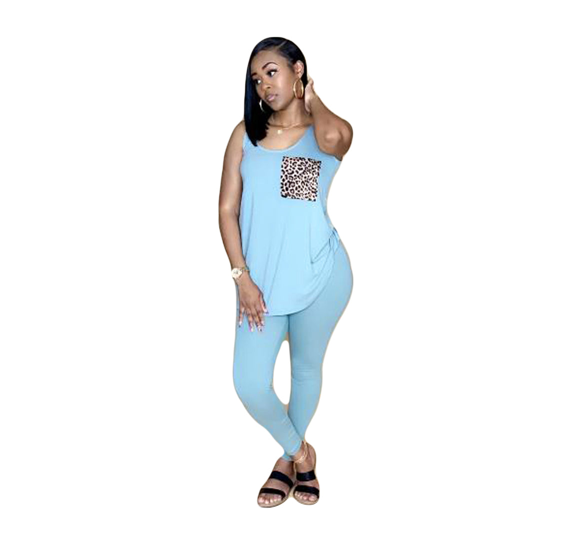 Women Two Pieces Sets Summer Tracksuits Sleeveless O-Neck Tops+Pants Suit Sporty Fitness Leopard Outfits 2 Pcs Street G8221