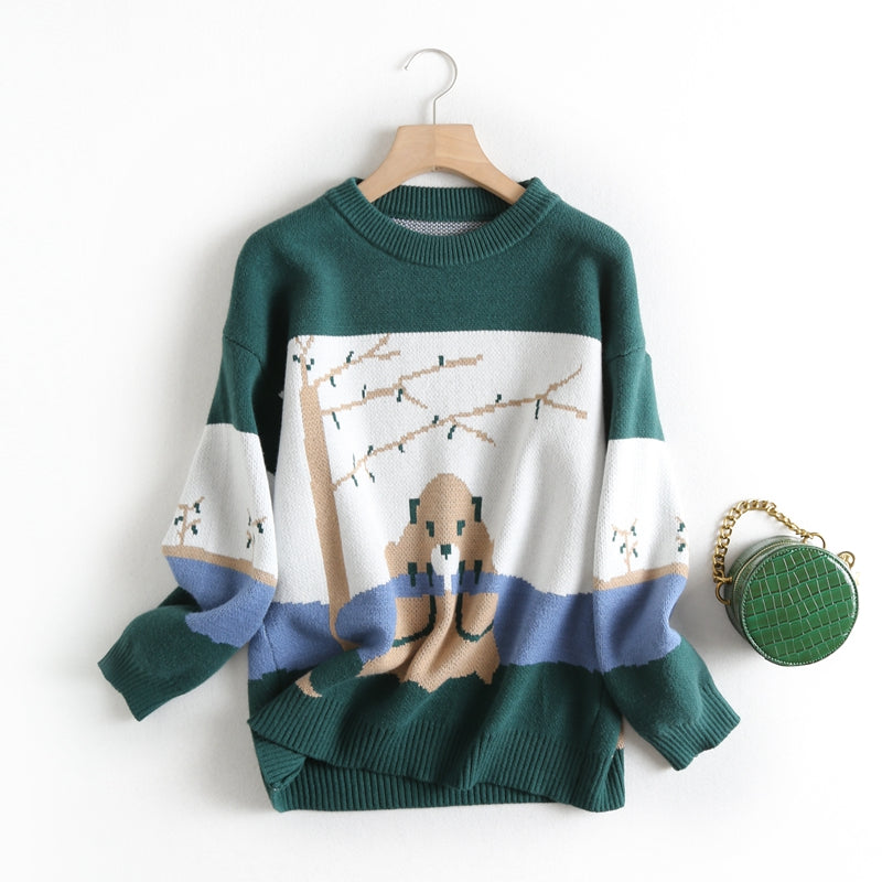 Tangada women sweet green cartoon parttern jumper sweater korean fashion long sleeve o neck pullovers tops BC47 (Green One Size)