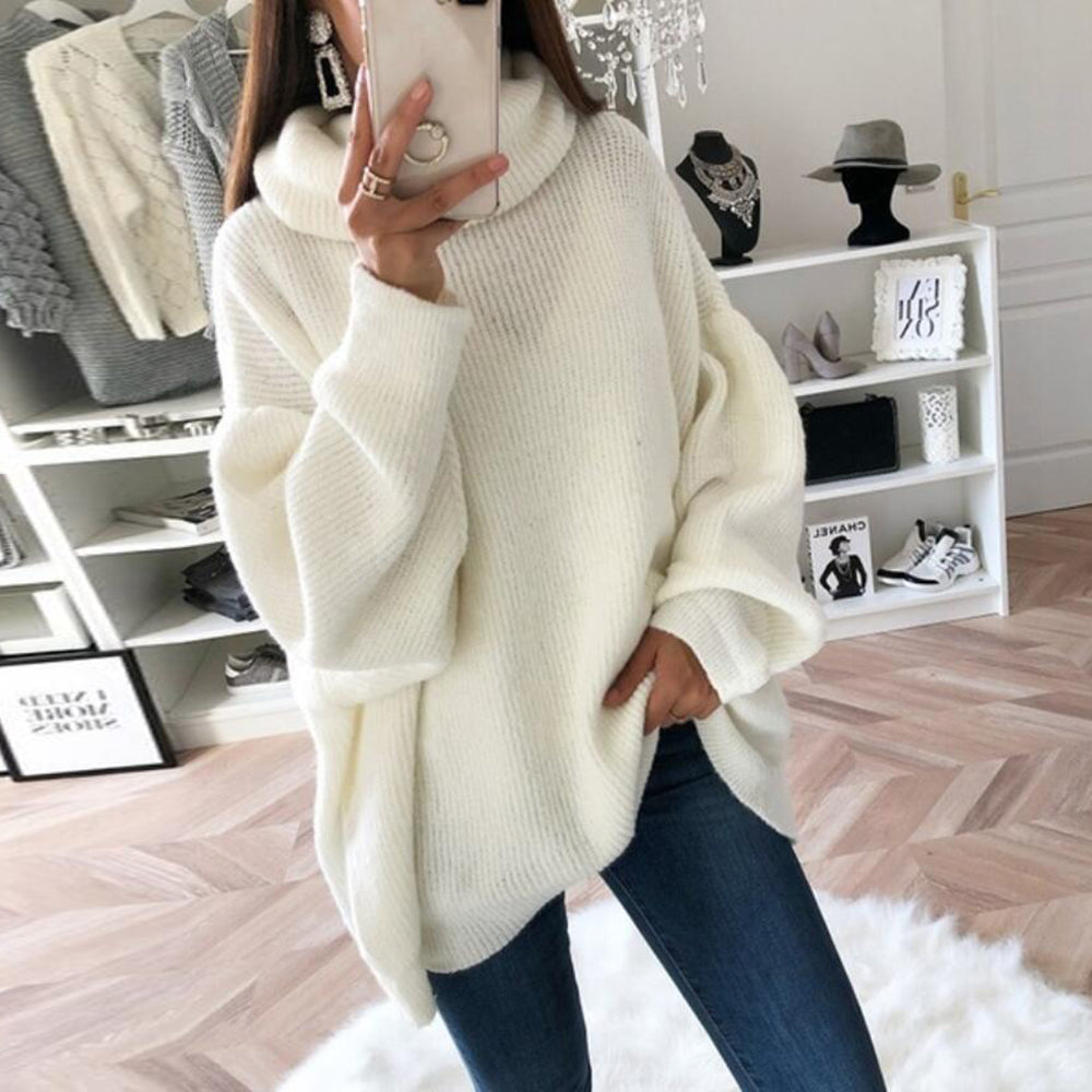 LITTHING 2019 Women Oversize Basic Knitted Sweater Female Solid Turtleneck Collar Pullovers Warm Autumn Winter Sweater