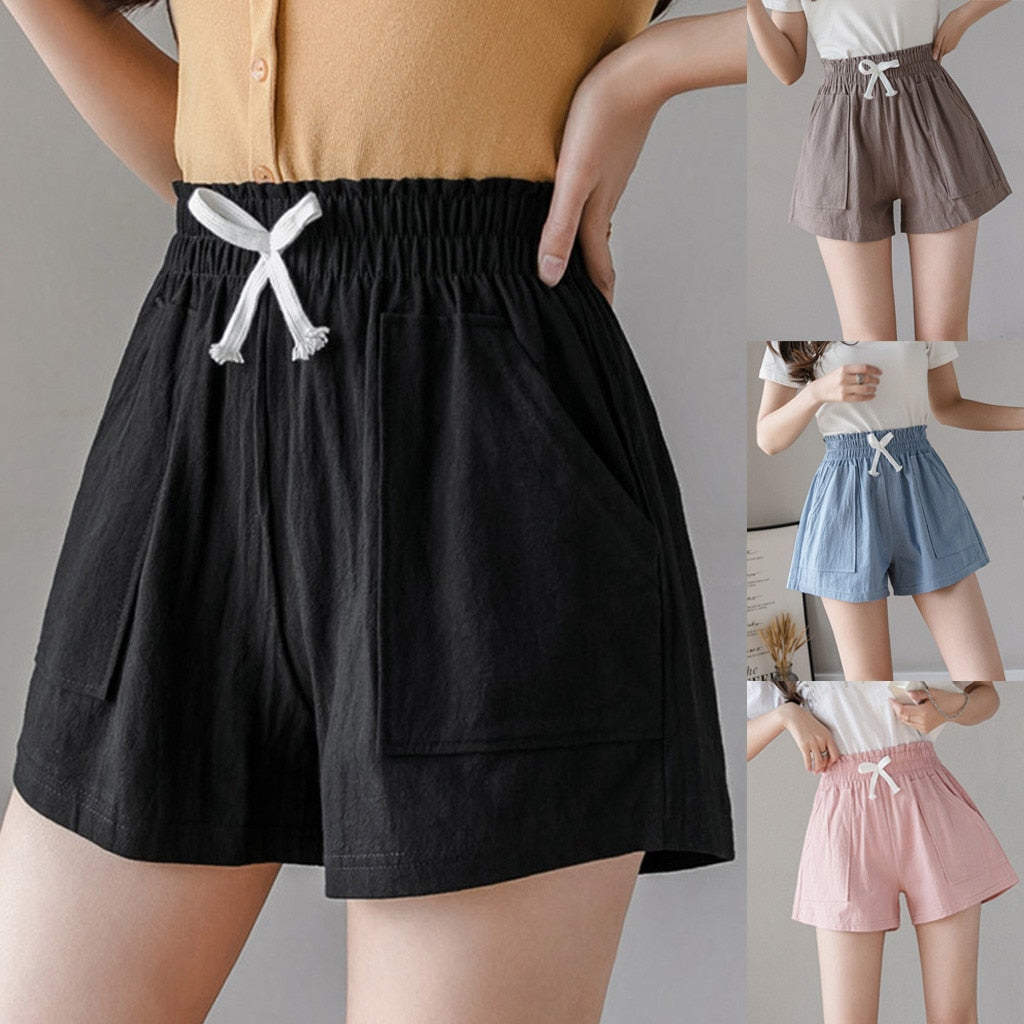 Fashion Cotton And Linen Bandage Short Women Lady Solid Casual Loose Plus Size 4XL Short High Waist Pockets Shorts шорты @30