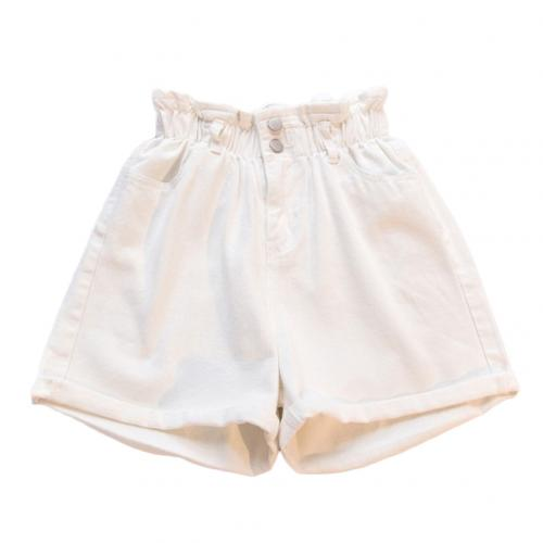 Plus Size Women Elastic High Waist Wide Leg Cotton Shorts Summer Jeans Shorts