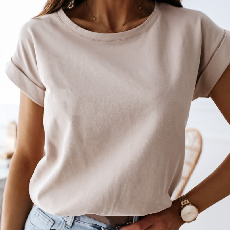 Summer Loose Black Women's T shirt Solid O-neck Short Sleeve Tops Female Casual Streetwear Lady T-shirts White