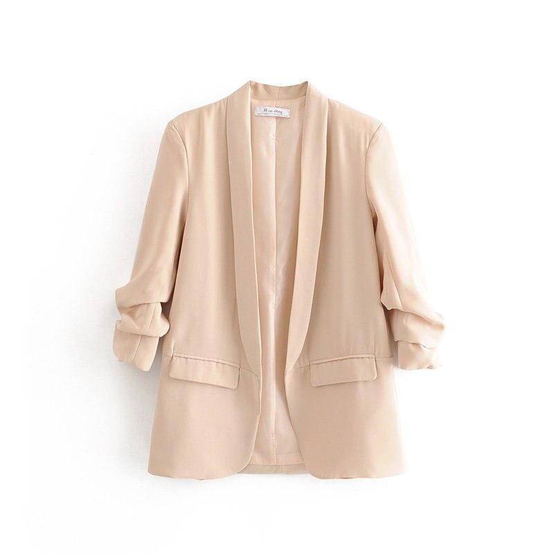 Spring Summer Thin Jacket Women Suits Solid Color Long Blazer Office Ladies Cardigan Coat Three Quarter Sleeve
