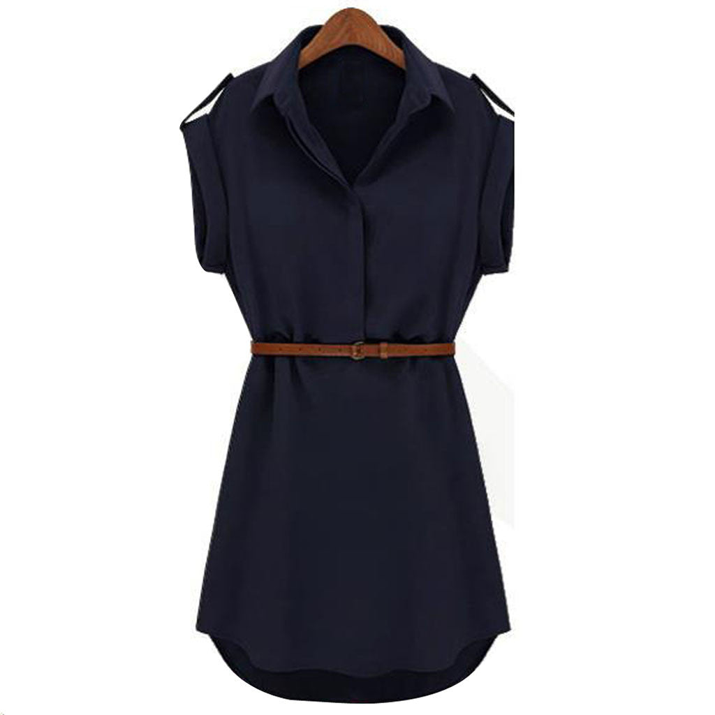Women Summer Loose Short Sleeve Chiffon Dress With Belt Office Lady Dresses For Vestidos #L30