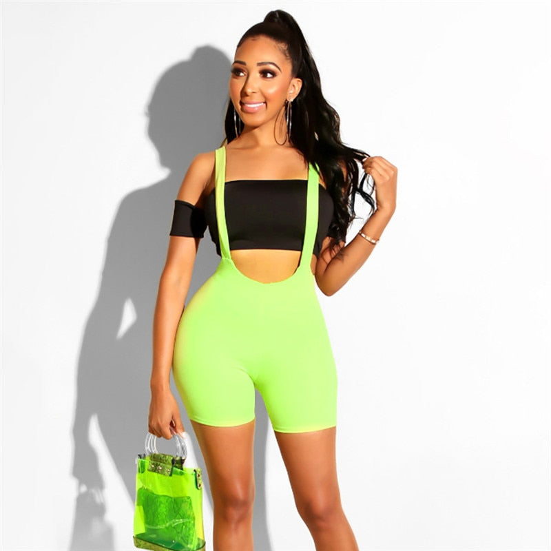 Womens Spandex Bib Shorts Summer Casual Solid Color High Waist Rompers Trousers