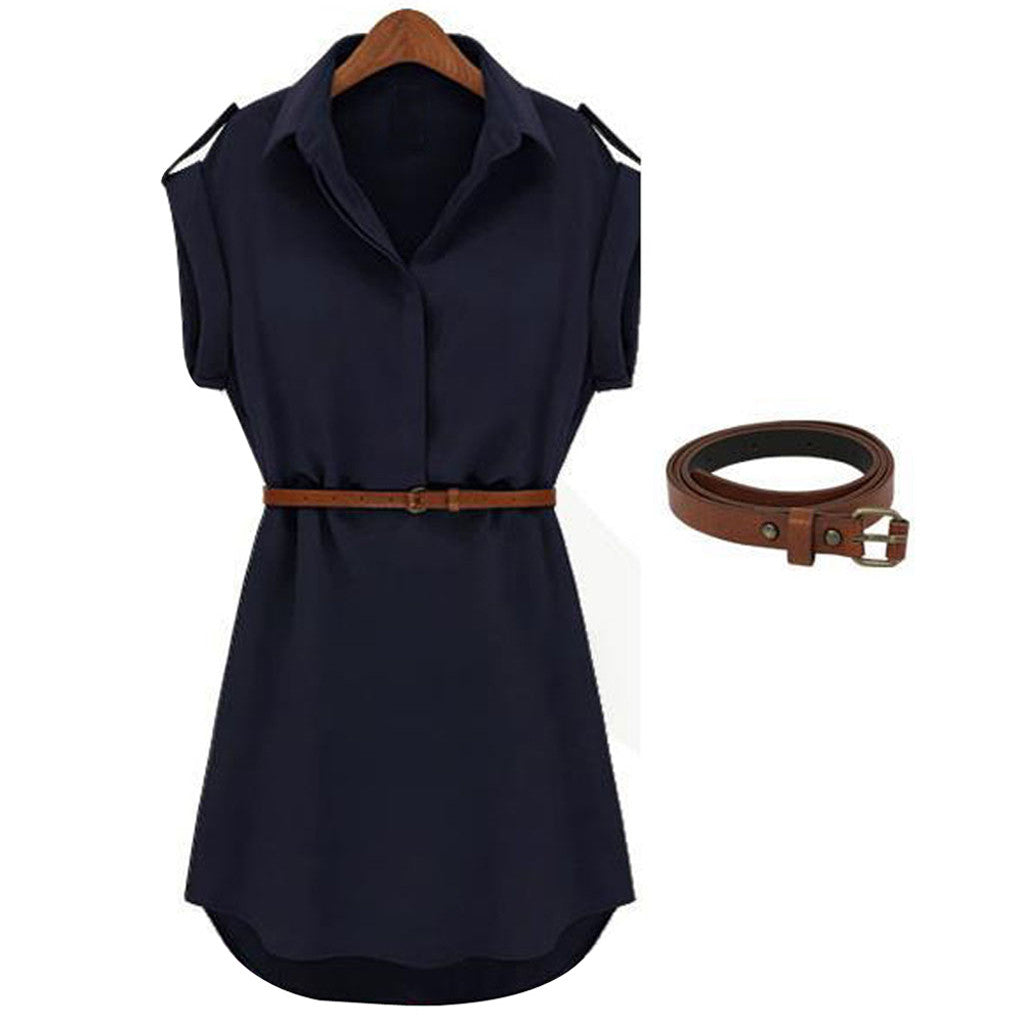 Women Summer Loose Short Sleeve Chiffon Dress With Belt Hot Sale Office Lady Style Dresses For 2020 New Fashion Vestidos #L30