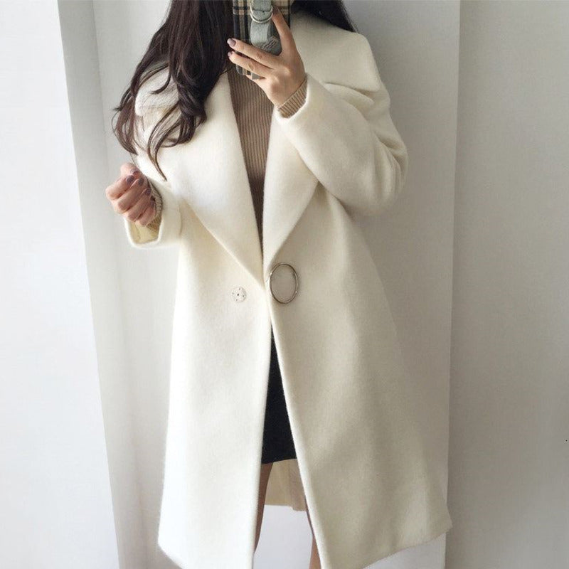 XUXI Women White Wool Mixture Coat Woman Long Sleeve Winter Coat Delicate Wool Coat For Female Overcoat FZ796