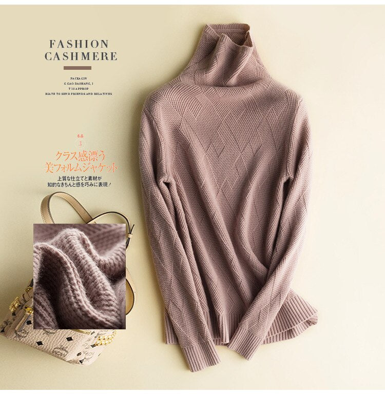Cashmere Sweater Women Turtleneck Fashion Knitted Sweater Pullover Korean Ladies Sweaters 2020 Jersey Mujer KJ4015