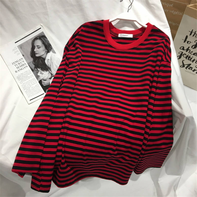 Neploe Autumn Striped Sweaters Women Medium-long Causal Pullovers Thin O-neck Top Korean Streetwear Plus Size Women Clothes