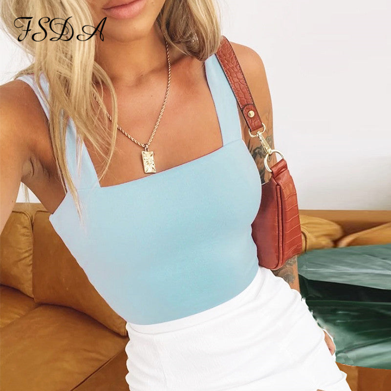 FSDA Square Neck Sleeveless Summer Crop Top White Women Black Casual Basic T Shirt Off Shoulder Cami Backless Tank Top