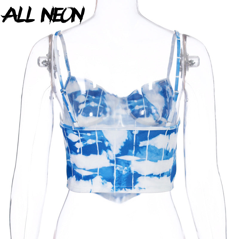 ALLNeon E-girl Tie Dye Spaghetti Strap Cute Crop Tops Y2K Summer Fashion Backless Skinny Colorful Camis Streetwear Party Tops