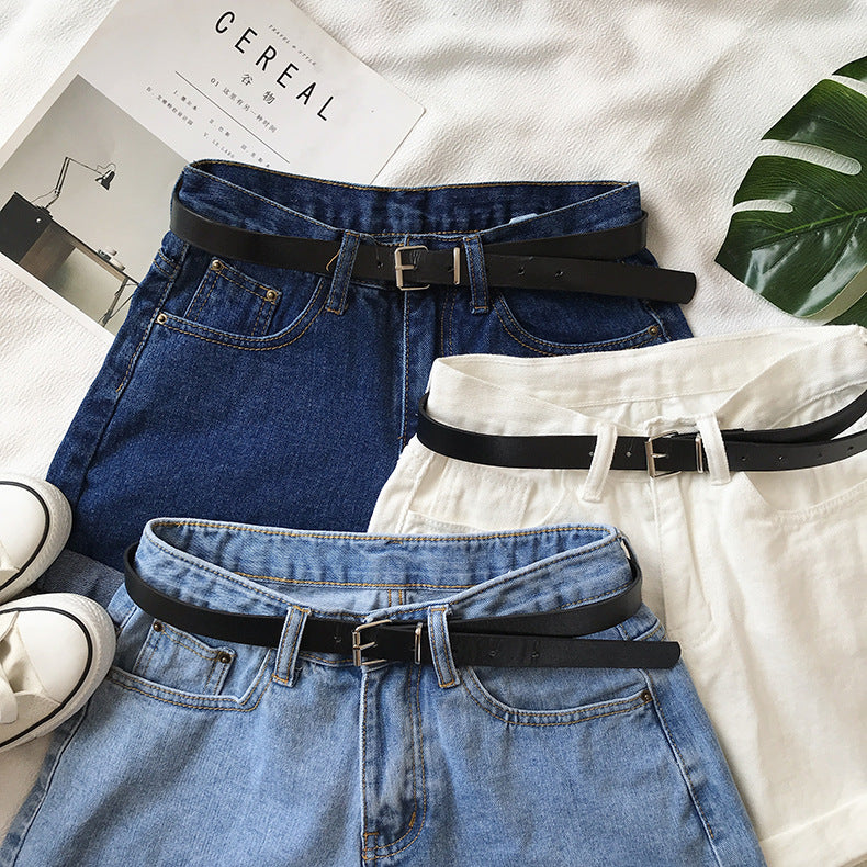 2020 Women Summer Shorts Fashion Free Belt High Waist Loose Casual Slim Denim Shorts Women Shorts Jeans mujer femme Korea Shorts