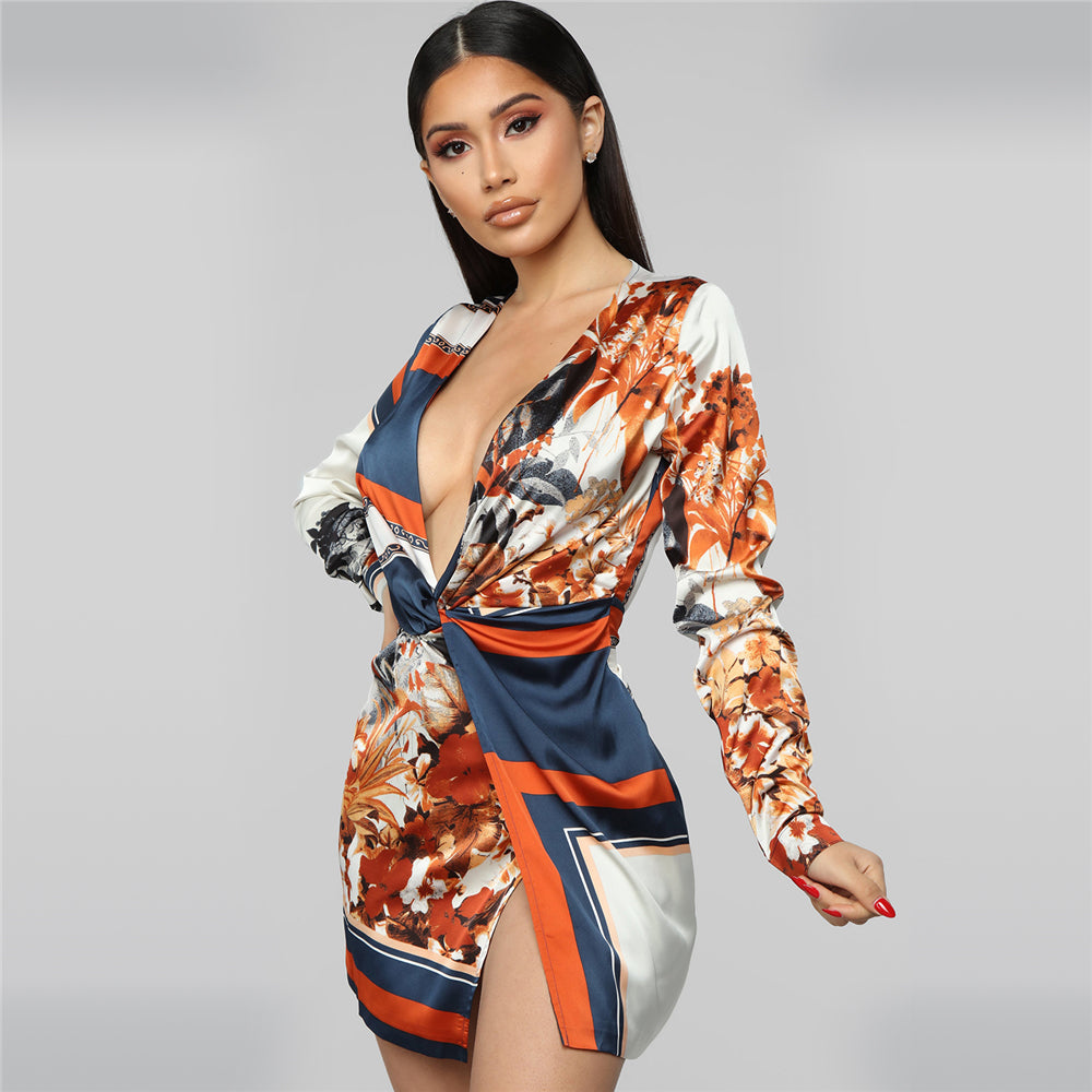 Zoctuo Women Print V-neck Dress Full Sleeve Ladies Mini Dress Middle Waist Basic Summer Party Dress