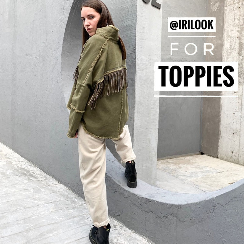 Toppies 2020 Spring tassels for breast Denim Jacket Loose Army Green Button Coat Woman Jeans Jacket Irregular Hem Streetwear