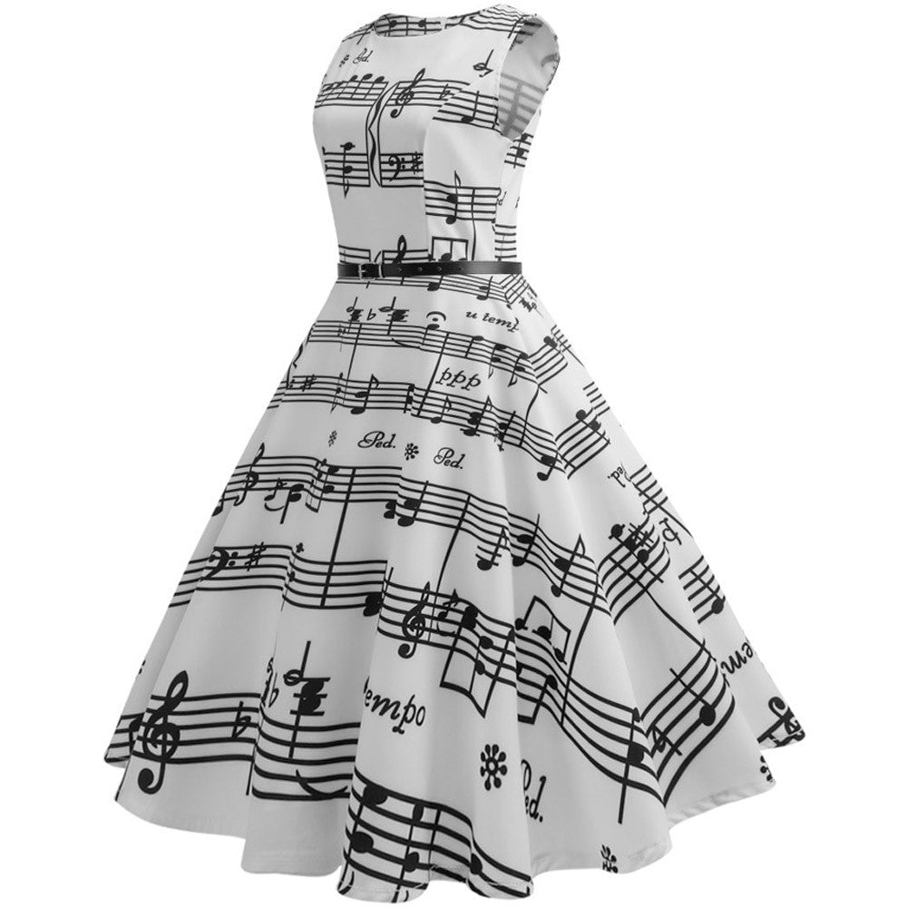 Vintage Print Music Notes Dress Tight Sleeveless Casual Evening Party Prom Swing Dress For Women Party Dress Women #L30