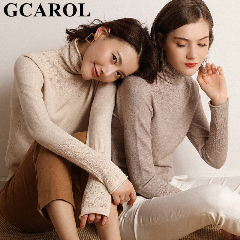 GCAROL Women Crochet Turtleneck Sweater 30% Wool Daily Tight Fit Knitted Jumper Warm Fall Winter OL Render Knitted Pullover S-2X