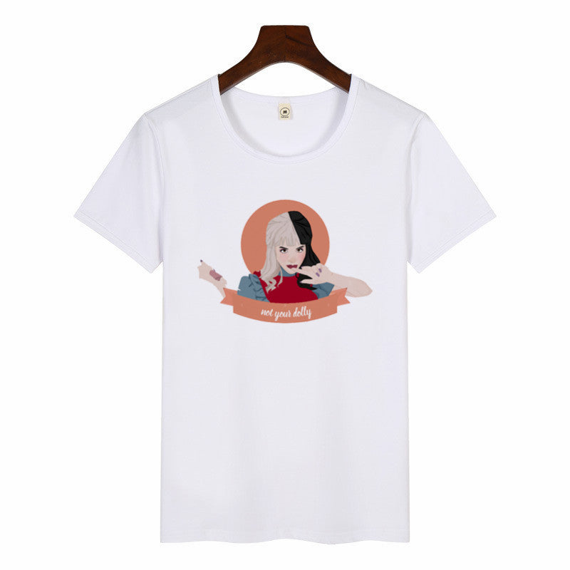Ladies summer casual short sleeves Harajuku Aesthetic Tshirts Female Melanie Martinez T-shirt Summer Graphic