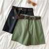 Genayooa Casual Shorts Women Fitness Wide Leg Black High Waist Shorts With Belt Office Lady Vintage Shorts Feminino Plus Size