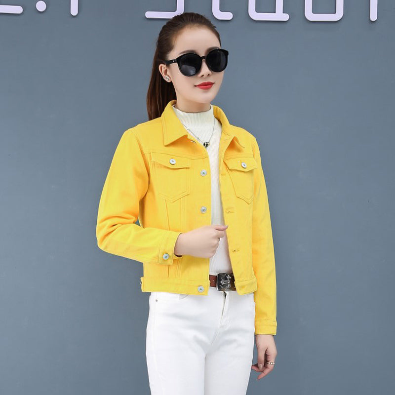Jeans Jacket and Coats for Women Autumn Candy Color Casual Short Denim Jacket Chaqueta Mujer Casaco Jaqueta Feminina