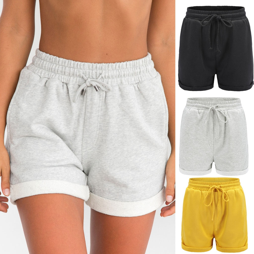 Women Shorts Pure Color Pocket Loose Hot Sport Shorts Lady Summer Home Shorts Trousers Elastic Waist Running Shorts Women Famale