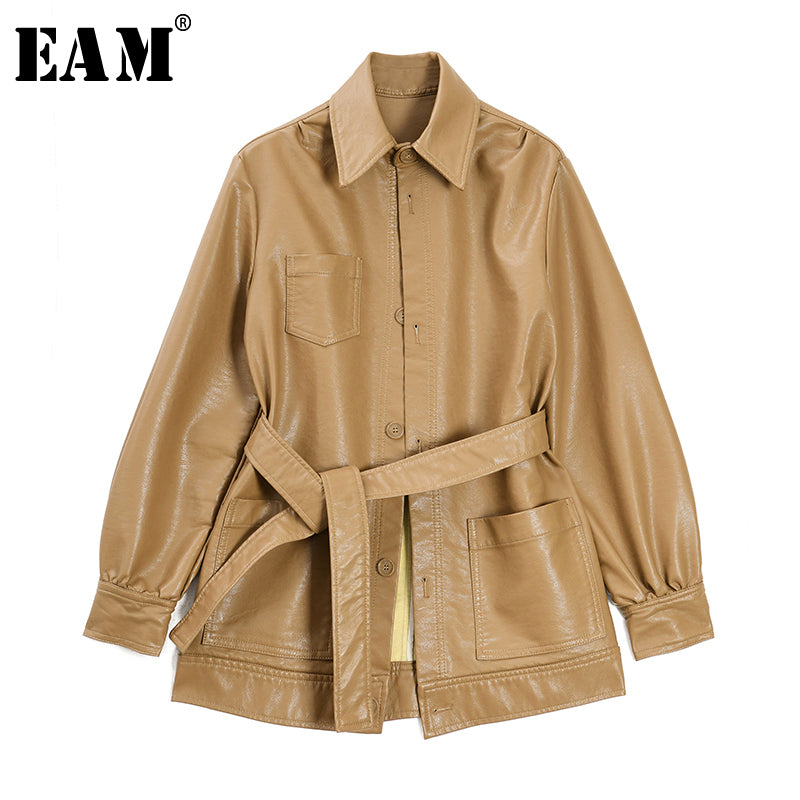 [EAM] Loose Fit Khaki Pu Leather Bandage Temperament Jacket New Lapel Long Sleeve Women Coat Fashion Tide Spring 2020 1S711